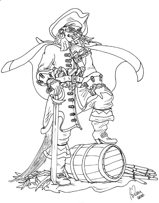 Captain Morgan Drawing Sketch Coloring Page