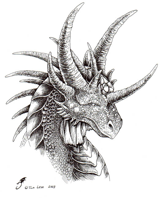 Realistic Dragon Head Coloring Pages