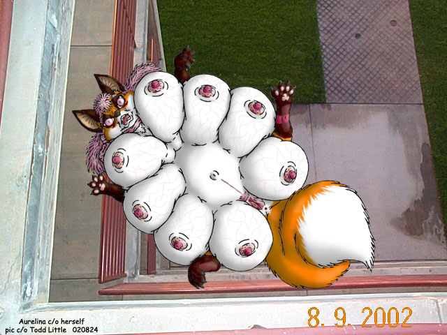 A very fat and pregnant vixen falling down three stories.